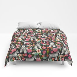 Schnauzer floral must have dog breed gifts for schnauzers owners florals Comforters