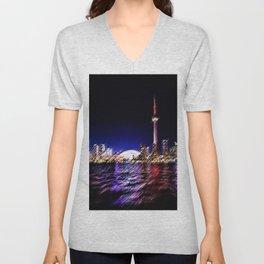 Toronto Nighttime Cityscape Landscape Painting by Jeanpaul Ferro Unisex V-Neck