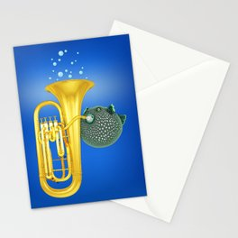 Puffer Fish Playing Tuba Stationery Cards