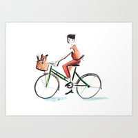 cycling Art Prints featuring Cycling by Kate Alizadeh