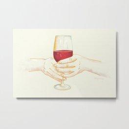 It's Wine Time - Women Holding Wine Glass Metal Print