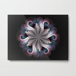 Pink Cloud Pinwheel fractal Metal Print