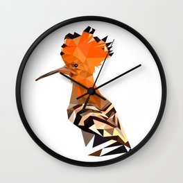 Bird artwork hoopoe geometric, Orange and brown Wall Clock