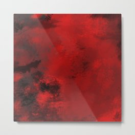 Red and Black Abstract Metal Print