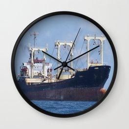 Cargo Ship In The Black Sea Wall Clock