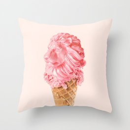 THE LION CREAM Throw Pillow