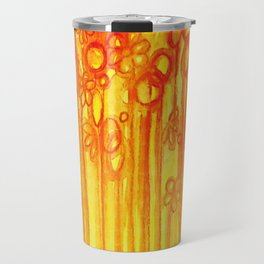 SUMMER SENTIMENTS - Bright Abstract Floral Garden Bold Summer Yellow Red Orange Flowers Painting Travel Mug