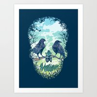 skull Art Prints featuring Nature's Skull by Rachel Caldwell