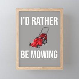 Lawn Mowing Gift Funny Lawn Mower Framed Mini Art Print
