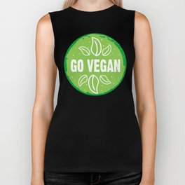 GO VEGAN, green circle (2) Biker Tank