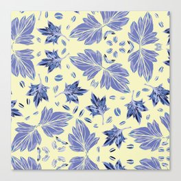 Autumn leaves in light yellow and blue Canvas Print