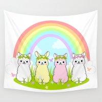 alpaca Wall Tapestries featuring Alpaca Paradise by rinicake