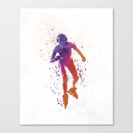 Woman in roller skates 01 in watercolor Canvas Print