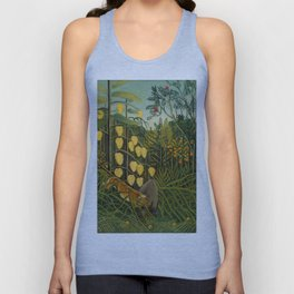"""Henri Rousseau """"Tropical Forest: Battling Tiger and Buffalo"""", 1908 Unisex Tank Top"""