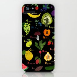 English fruit and vegetables alphabet on dark iPhone Case
