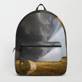 Spinning Gold - Storm Over Hay Bales in Kansas Field Backpack