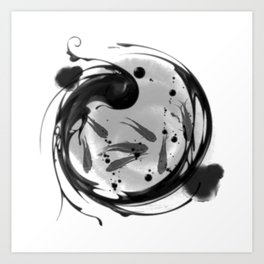 chinese feng shui white fish Art Print