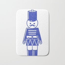 French toy soldier with drum, drawing with letterpress effect. Bath Mat