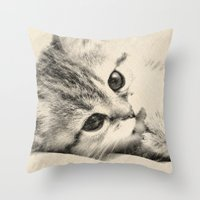 kitten Throw Pillows featuring Kitten by Augustinet