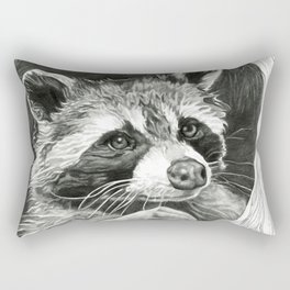 Raccoon In A Hollow Tree Drawing Rectangular Pillow