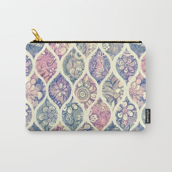 Patterned & Painted Floral Ogee in Vintage Tones Carry-All Pouch