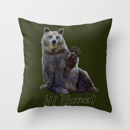 Bearly Greetings Throw Pillow