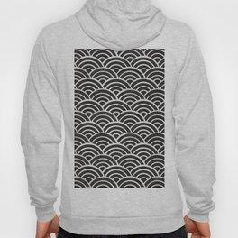 Japanese Seigaiha Wave – Black & White Palette Hoody