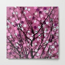 Pink floral tree print Metal Print
