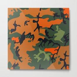 Camouflage Pattern Orange/Green Metal Print