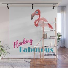 Pink Flamingo Flocking Fabulous Wall Mural