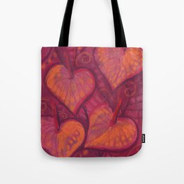 Hearty Flowers / Anthurium, pink, red & orange Tote Bag