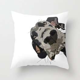 Great Dane dog in your face Throw Pillow