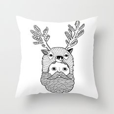 Portrait of Northern Deer Man Throw Pillow