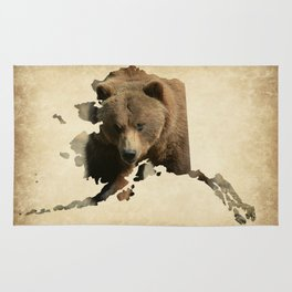 Alaskan Grizzly Map Rug