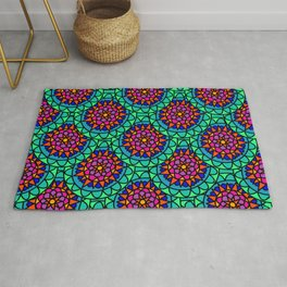Bright Colourful Mandala print Rug