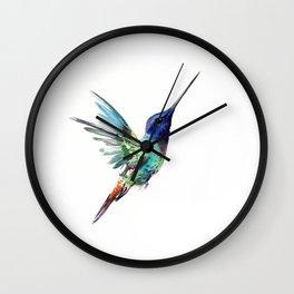 Flying Hummingbird flying bird, turquoise blue elegant bird minimalist design Wall Clock