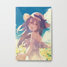 Young girl And Sunflower Metal Print
