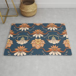 Antique floral in art nouveau style. Vintage hand drawn illustration pattern. Old, retro style. Flowers on denim blue background. Rug