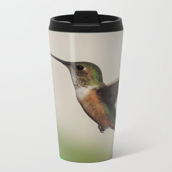Ms. Hummingbird Checks the Feeder Metal Travel Mug