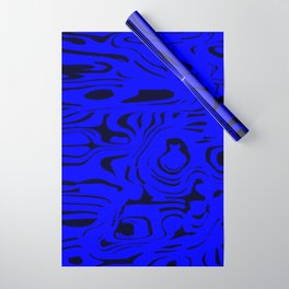 Juicy flowing spots of blue lines on black. Wrapping Paper