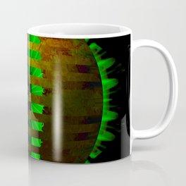 Yellow Layered Star in Green Flames Coffee Mug