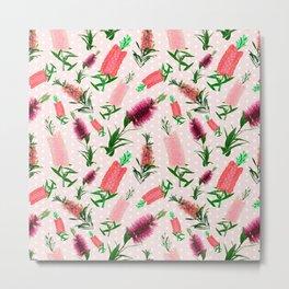 Pink Australian Native Florals - Bottlebrush Pattern Metal Print