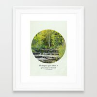 fitzgerald Framed Art Prints featuring fall leaves + f scott fitzgerald by lissalaine