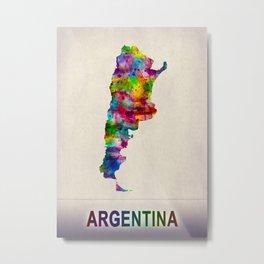 Argentina Map in Watercolor Metal Print