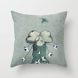 Origami's passion -  a collaboration between Christelle Guilhen and Gwenola de Muralt Throw Pillow