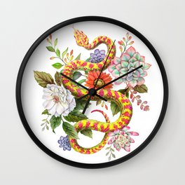 Snake and Succulents #64 Wall Clock