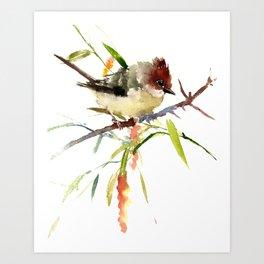 Beautiful Bird artwork, Yuhina Bird, Olive green Brown bird art Art Print