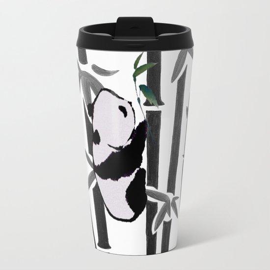 Panda bamboo feeding Metal Travel Mug