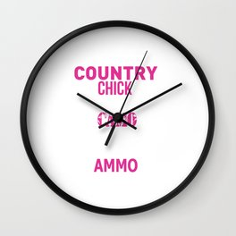 Country Chick Wearing Camo and Rocking Ammo T-shirt Wall Clock