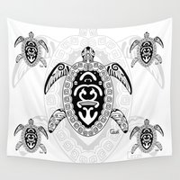 tortoise Wall Tapestries featuring Tortoise by ceceï
